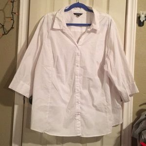 White 3/4 sleeve button down